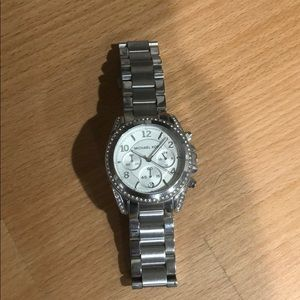 Silver and pave Michael Kors watch